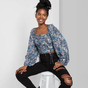 Wild Fable Floral Print Bishop Sleeve Cropped Top